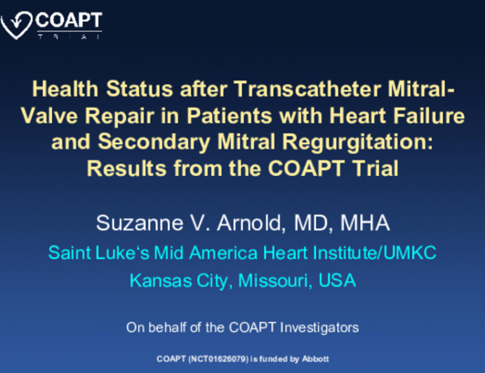 Health Status after Transcatheter Mitral- Valve Repair in Patients with Heart Failure and Secondary Mitral Regurgitation: Results from the COAPT Trial