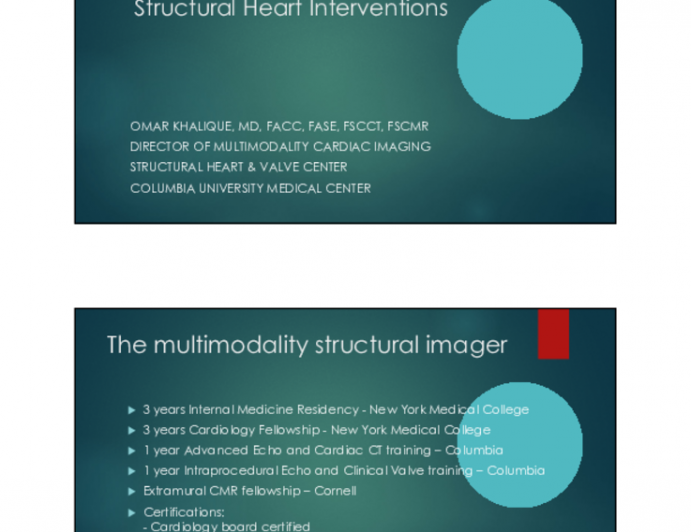 Multimodality Imaging for Structural Heart Interventions