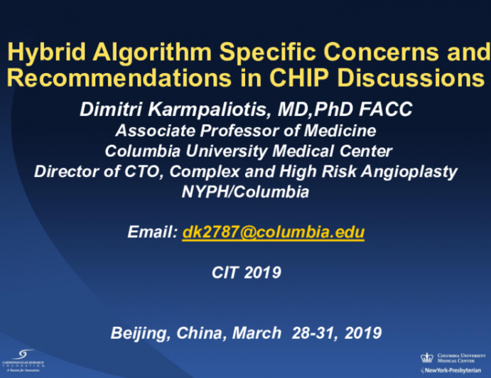 Hybrid Algorithm Specific Concerns and Recommendations in CHIP Discussions