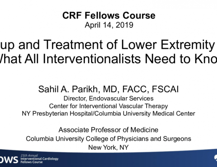 Workup and Treatment of Lower-Extremity PAD: What All Interventionalists Need to Know