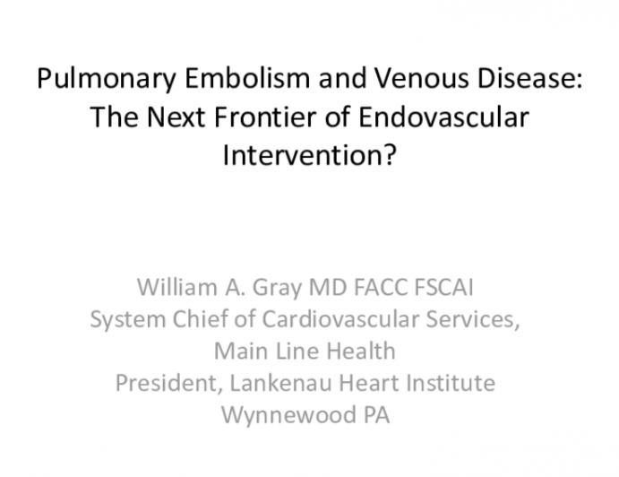 Pulmonary Embolism and Venous Disease: The Next Frontier of Endovascular Intervention?