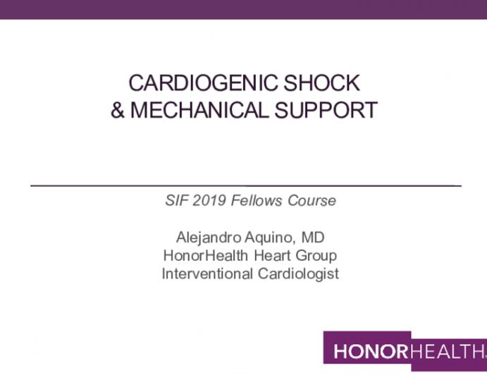 Cardiogenic Shock & Mechanical Support