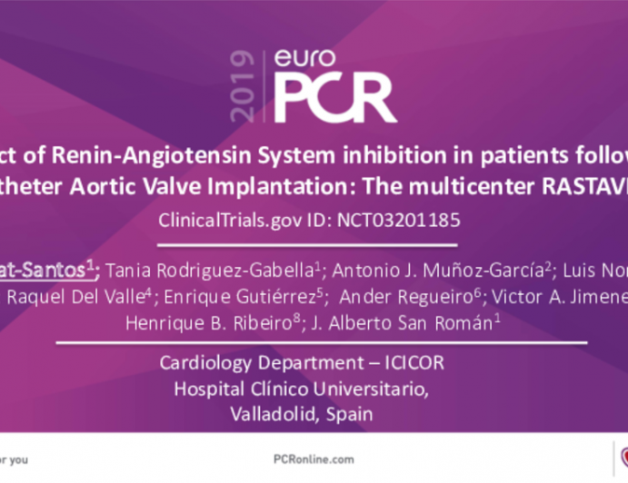 Impact of Renin-Angiotensin System inhibition in patients following Transcatheter	Aortic Valve Implantation: The multicenter RASTAVI	study.
