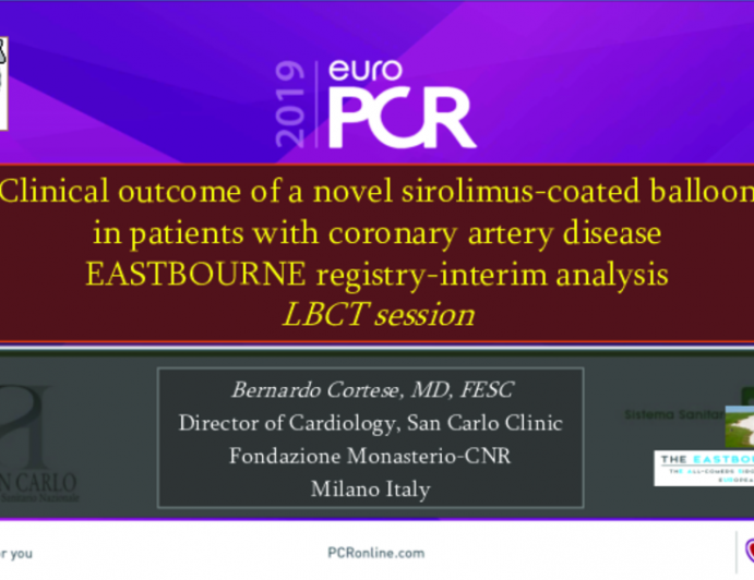Clinical outcome of a novel sirolimus-coated balloon in patients with coronary artery disease EASTBOURNE registry-interim analysis LBCT session