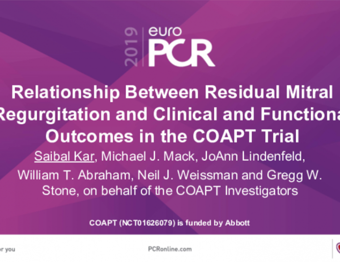 Relationship Between Residual Mitral Regurgitation and Clinical and Functional Outcomes in the COAPT Trial