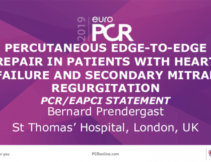 Percutaneous Edge-To-Edge Repair In Patients With Heart Failure And Secondary Mitral Regurgitation PCR/EAPCI Statement
