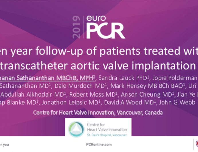 Ten year follow-up of patients treated with transcatheter aortic valve implantation