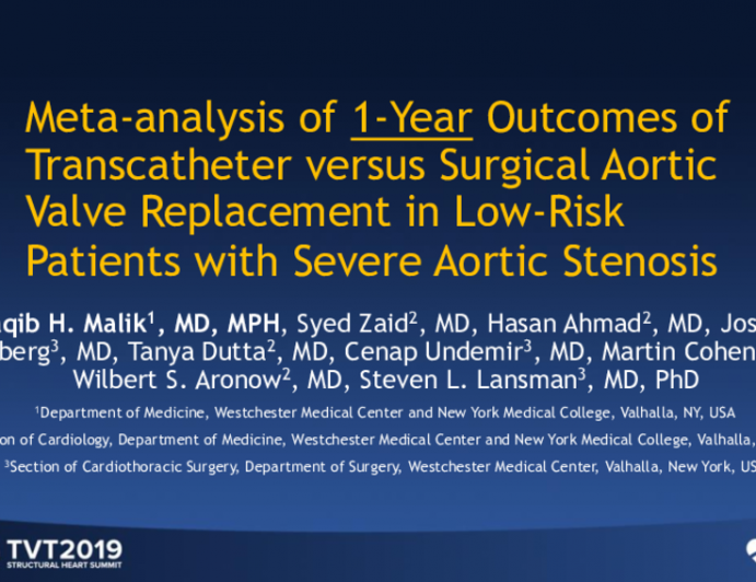 Meta-Analysis of 1-Year Outcomes of Transcatheter vs. Surgical Aortic Valve Replacement in Low-Risk Patients With Severe Aortic Stenosis
