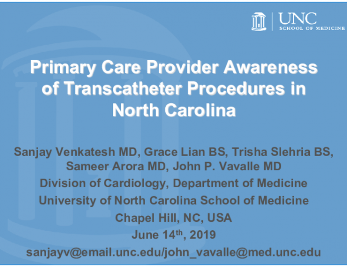 Primary Care Provider Awareness of Transcatheter Procedures in North Carolina