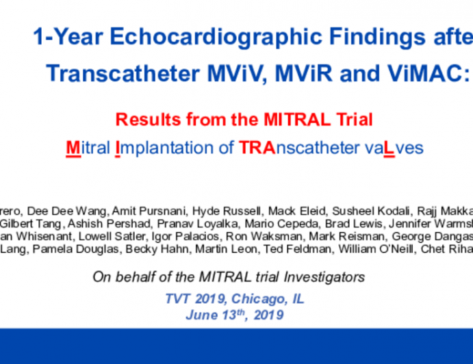 1-Year Echocardiographic Findings After Transcatheter Mitral Valve-in-Valve, Valve-in-Ring and Valve-in-Mitral Annular Calcification: Results From the MITRAL Trial