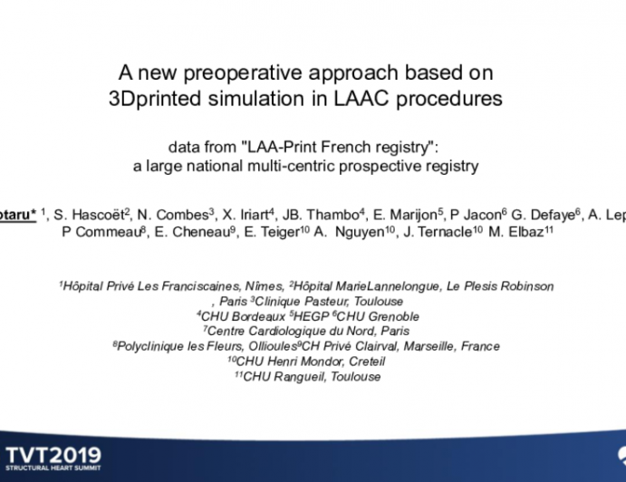 A New Preoperative Approach Based on 3D Printed Simulation in LAAC Procedures (Data From 'LAA-Print French Registry'): A Large, National Multicentric Prospective Registry