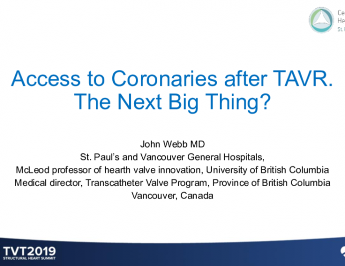 Access to Coronaries After TAVR: The Next Big Thing?