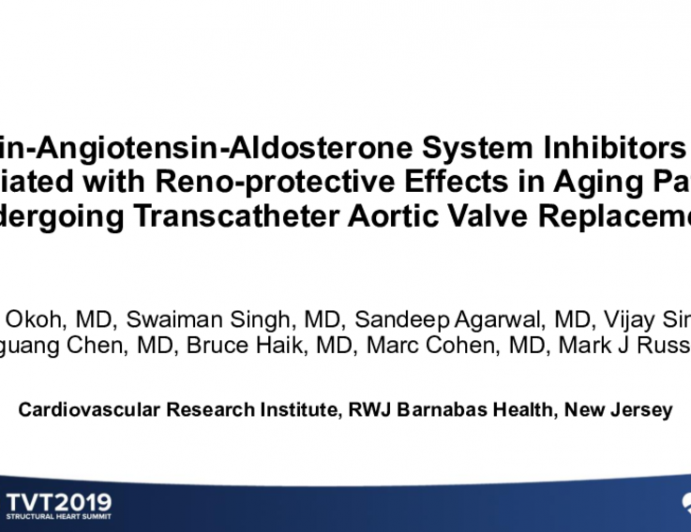 Renin-Angiotensin-Aldosterone System Inhibitors Are Associated With Reno-Protective Effects in Aging Patients Undergoing Transcatheter Aortic Valve Replacement