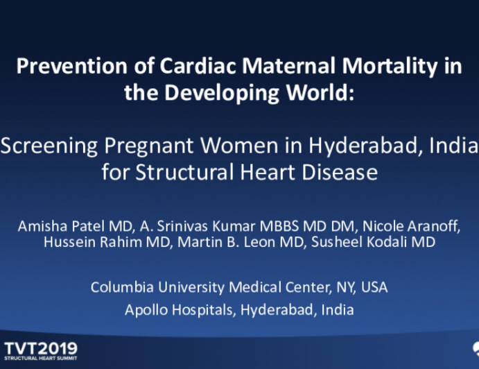 Prevention of Cardiac Maternal Mortality in the Developing World: Screening Pregnant Women in Hyderabad, India for Structural Heart Disease