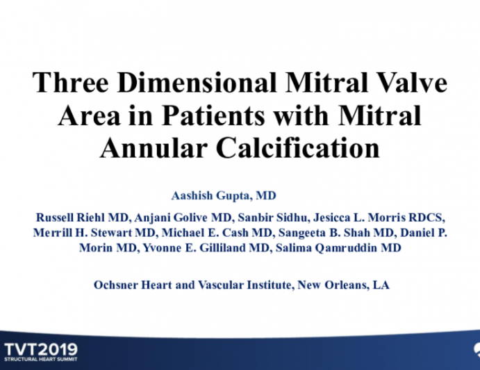 Three Dimensional Mitral Valve Area in Patients With Mitral Annular Calcification
