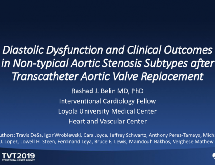Diastolic Dysfunction and Clinical Outcomes in Non-Typical Aortic Stenosis Subtypes After Transcatheter Aortic Valve Replacement