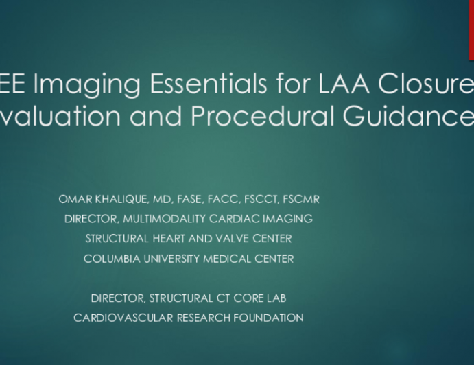 TEE Imaging Essentials for LAA Closure Evaluation and Procedural Guidance