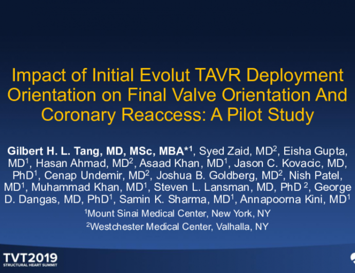 Impact of Initial Evolut TAVR Deployment Orientation on Final Valve Orientation and Coronary Reaccess: A Pilot Study
