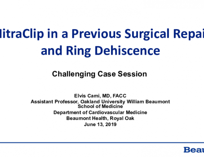 MitraClip in a Case of Ring Dehiscence