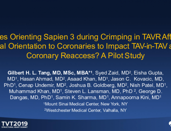 Does Orienting Sapien 3 During Crimping in TAVR Affect Final Orientation to Coronaries to Impact TAV-in-TAV and Coronary Reaccess? A Pilot Study