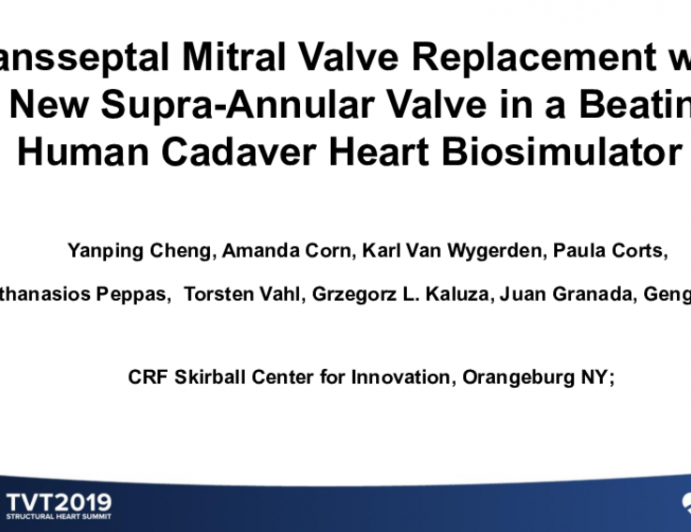 Transseptal Mitral Valve Replacement With a New Supra-Annular Valve in a Beating Human Cadaver Heart Biosimulator