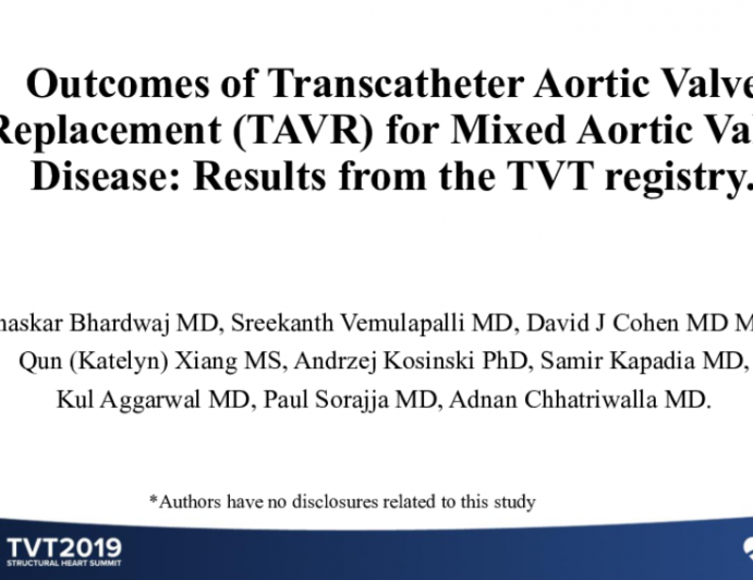 Outcomes of Transcatheter Aortic Valve Replacement (TAVR) for Mixed Aortic Valve Disease: Results From the TVT Registry