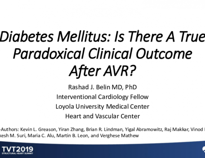 Diabetes Mellitus: Is There a True Paradoxical Clinical Outcome After AVR?
