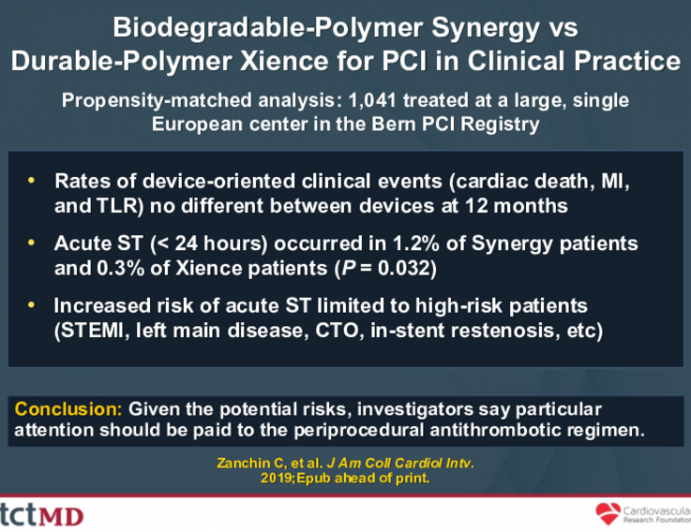 Biodegradable-Polymer Synergy vsDurable-Polymer Xience for PCI in Clinical Practice