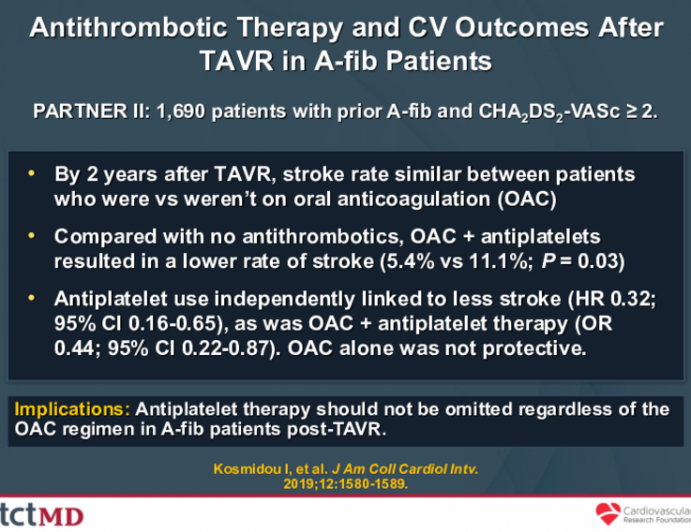 Antithrombotic Therapy and CV Outcomes After TAVR in A-fib Patients