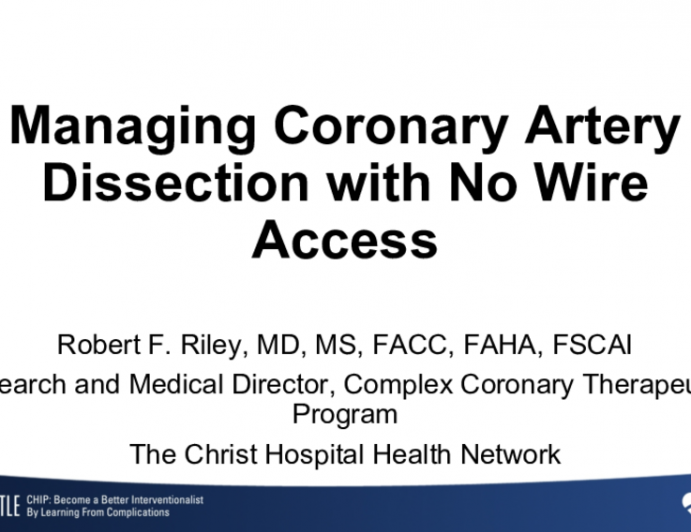 Managing Coronary Artery Dissection with No Wire Access