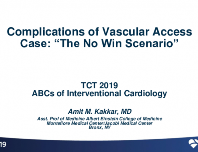 Case Example: Complication Related to Vascular Access