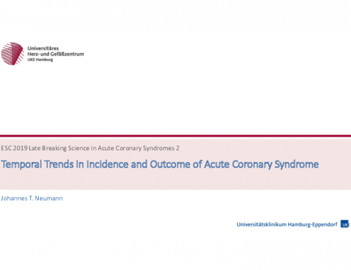 Temporal Trends in Incidence and Outcome of Acute Coronary Syndrome
