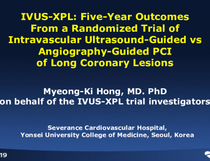 IVUS-XPL: 5-Year Outcomes From a Randomized Trial of Intravascular Ultrasound-Guided vs. Angiography-Guided PCI of Long Coronary Lesions