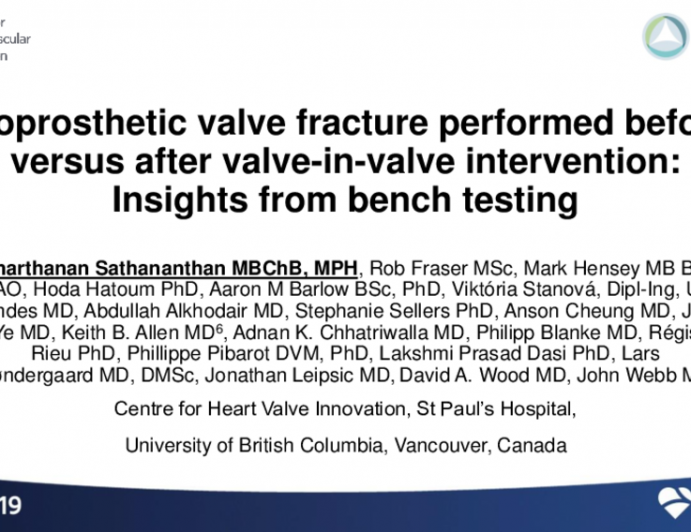 TCT 33: Bioprosthetic valve fracture performed pre versus post valve-in-valve transcatheter aortic valve replacement: Insights from bench testing