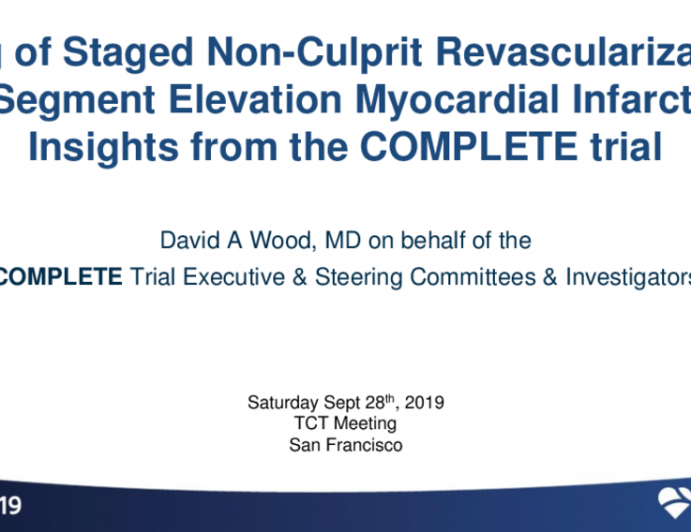 COMPLETE Timing Substudy: A Randomized Trial of Complete Staged Revascularization vs. Infarct Artery PCI Alone in Patients With Acute Myocardial Infarction and Multivessel Disease — Importance of Revascularization Timing