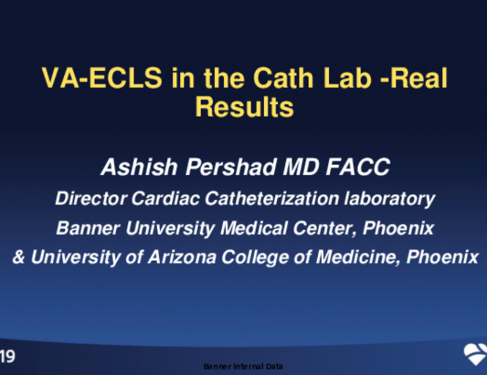 VA ECLS in the Cath Lab: Real Results