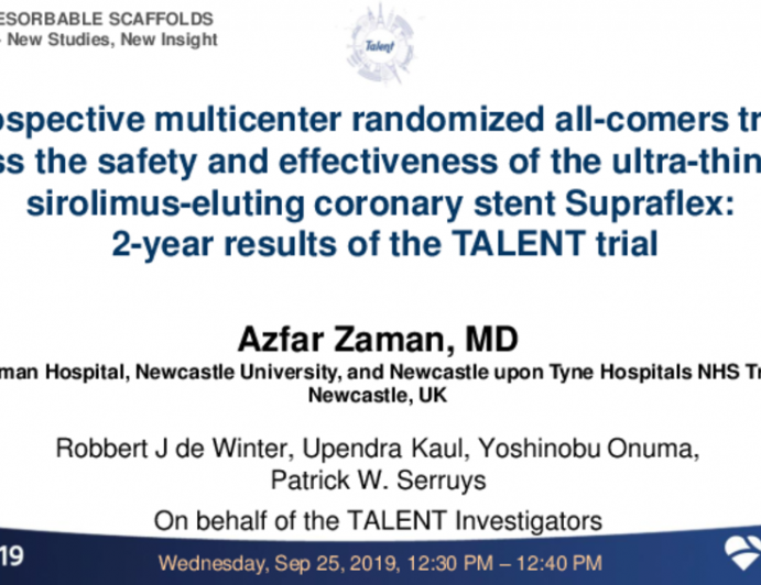 TCT 41: A prospective multicentre randomized all-comers trial to assess the safety and effectiveness of the ultra-thin-strut sirolimus-eluting coronary stent Supraflex: 2-year results of the TALENT trial
