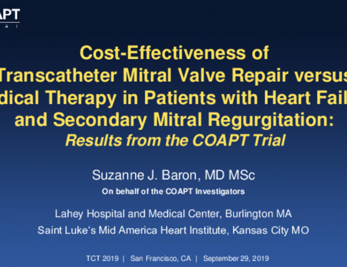 COAPT: Cost-Effectiveness Analysis From a Randomized Trial of the MitraClip in Patients With Heart Failure and Severe Secondary Mitral Regurgitation