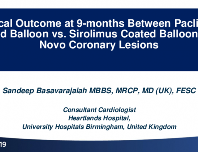 Clinical Outcome at 6 Months Between Paclitaxel-Coated Balloon vs. Sirolimus-Coated Balloon in De Novo Coronary Lesions