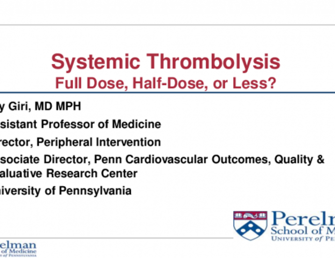 Systemic Therapy for Acute PE: Options, Effectiveness, Safety