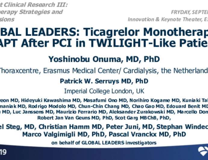 GLOBAL LEADERS: Ticagrelor Monotherapy vs. DAPT After PCI in TWILIGHT-Like Patients