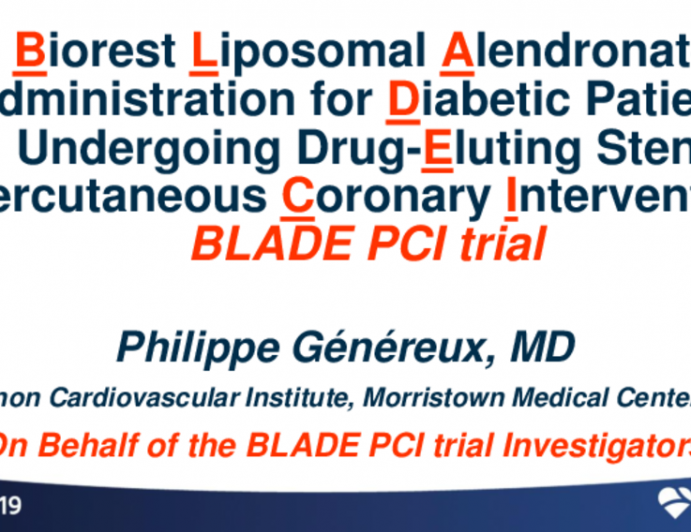 BLADE-PCI: A Randomized Trial of Liposomal Alendronate in Patients With Diabetes Undergoing PCI