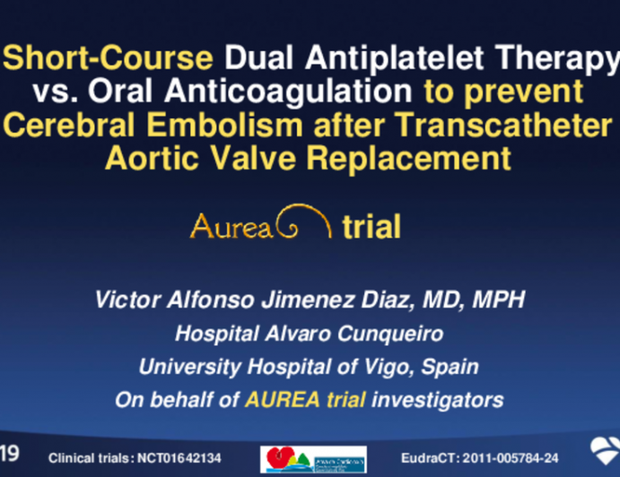 A Randomized Trial of Short-Course Dual Antiplatelet Therapy vs. Oral Anticoagulation to Prevent Cerebral Embolism After Transcatheter Aortic Valve Implantation