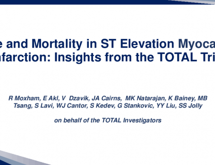 TCT 10: Time and Mortality in ST Elevation Myocardial Infarction: Insights From the TOTAL Trial