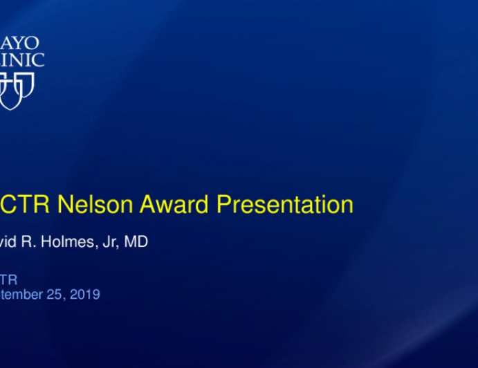 Presentation of the ISCTR-Nelson Award