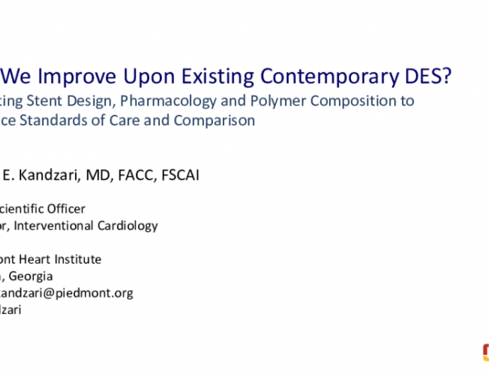 Opening Debate: Which Metallic DES Should Be on My Cath Lab Shelf? - Choose Carefully: The Best New Generation DES are Associated With Meaningful Improvements In Performance and Outcomes!