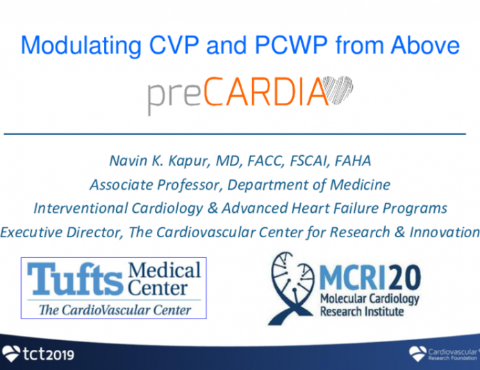 """Modulating CVP and PCWP """"From Above"""": PreCardia"""