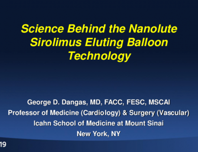 Science Behind Nanolute Technology of Sirolimus-Coated Balloon