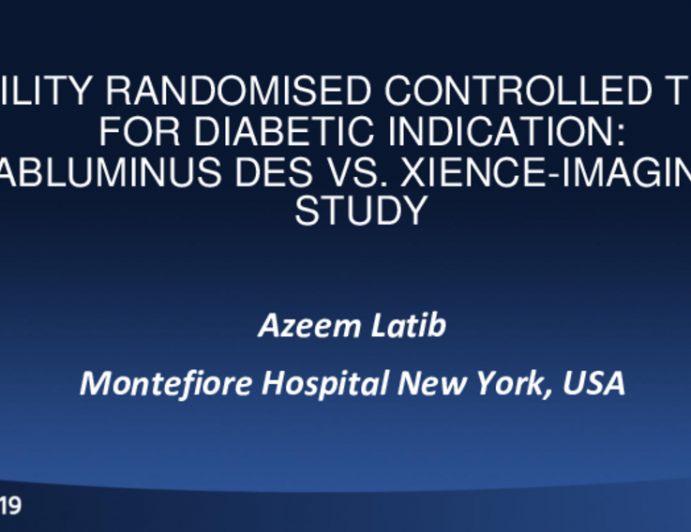 The ABILITY DIABETES GLOBAL Imaging Study (Randomized Control Trial Comparing Abluminus DES vs. Xience)