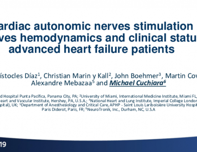 TCT 86: Cardiac autonomic nerves stimulation improves hemodynamics and clinical status in advanced heart failure patients